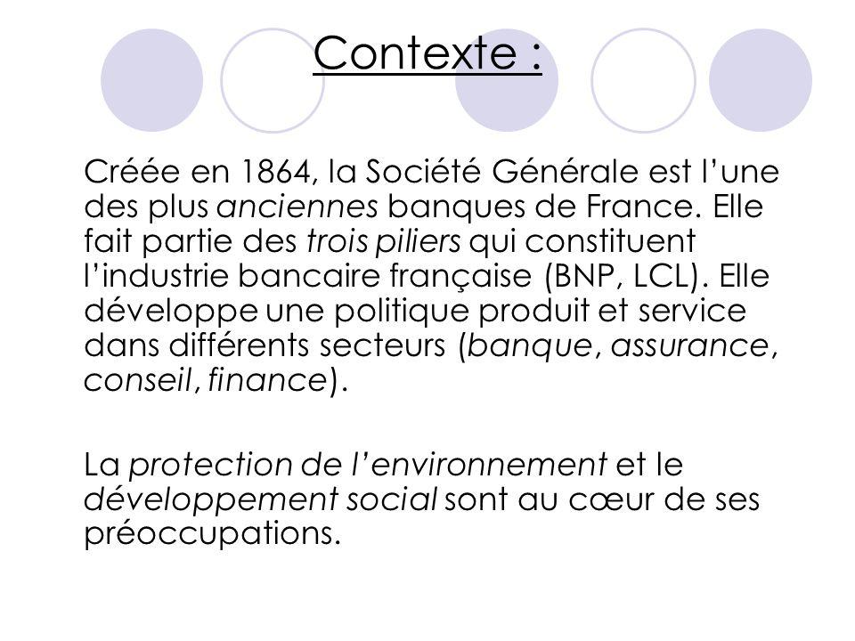 Contexte : Créée en 1864, la Société Générale est l'une des plus anciennes banques de France. Elle fait partie des trois piliers qui constituent l'ind
