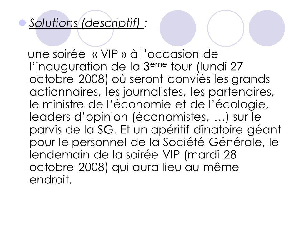  Solutions (descriptif) : une soirée « VIP » à l'occasion de l'inauguration de la 3 ème tour (lundi 27 octobre 2008) où seront conviés les grands act