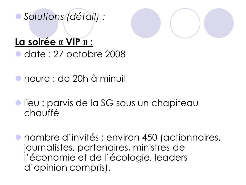  Solutions (détail) : La soirée « VIP » :  date : 27 octobre 2008  heure : de 20h à minuit  lieu : parvis de la SG sous un chapiteau chauffé  nom