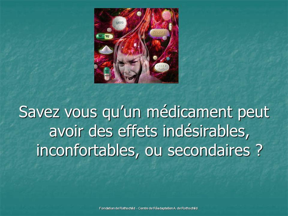 Savez vous qu'un médicament peut avoir des effets indésirables, inconfortables, ou secondaires ? Fondation de Rothschild - Centre de Réadaptation A. d