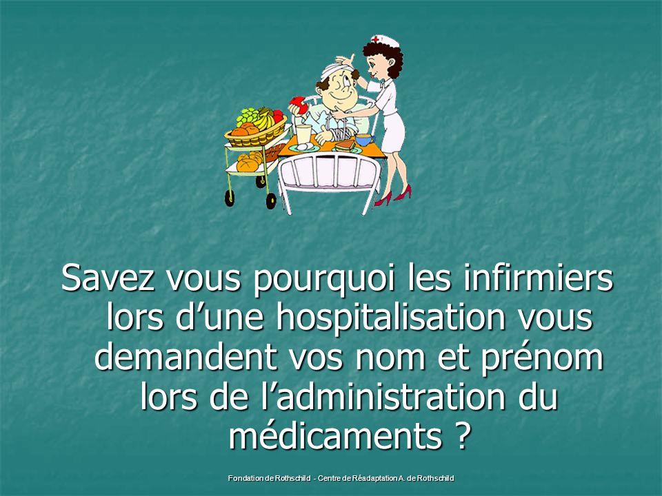 Savez vous pourquoi les infirmiers lors d'une hospitalisation vous demandent vos nom et prénom lors de l'administration du médicaments ? Fondation de