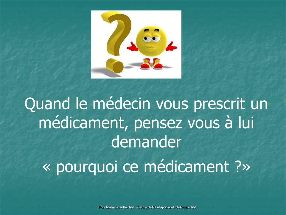 Quand le médecin vous prescrit un médicament, pensez vous à lui demander « pourquoi ce médicament ?» Fondation de Rothschild - Centre de Réadaptation