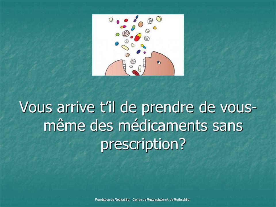 Vous arrive t'il de prendre de vous- même des médicaments sans prescription? Fondation de Rothschild - Centre de Réadaptation A. de Rothschild