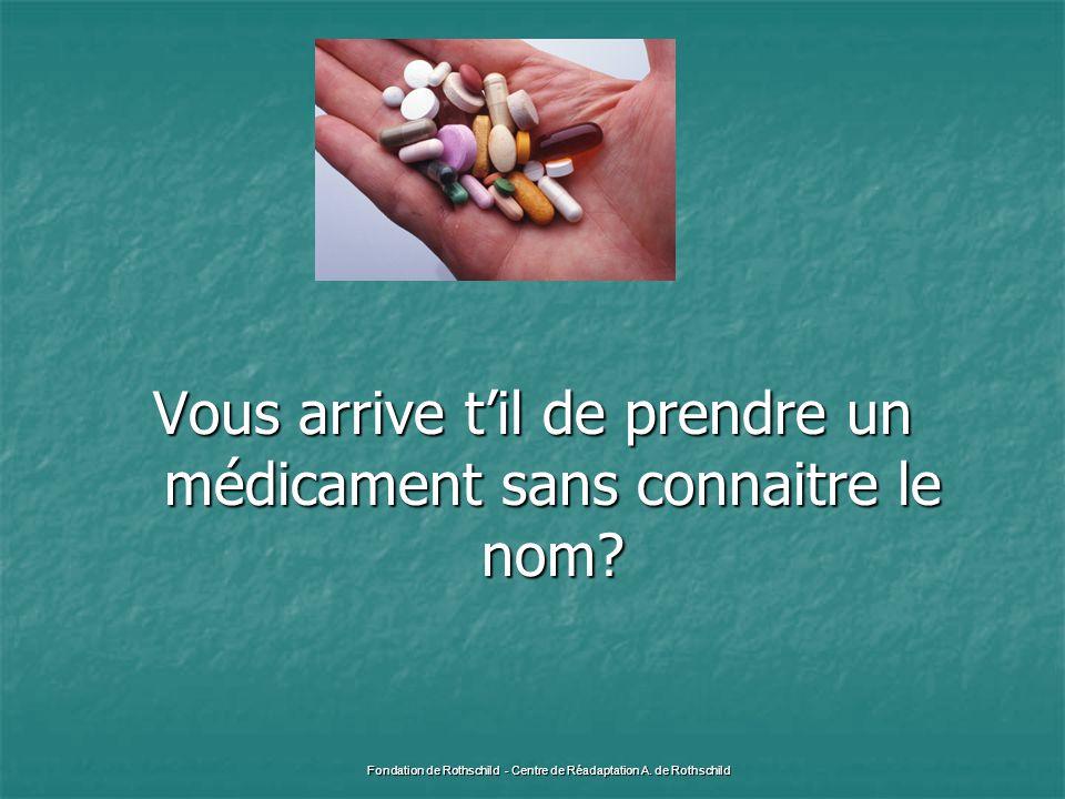 Vous arrive t'il de prendre un médicament sans connaitre le nom? Fondation de Rothschild - Centre de Réadaptation A. de Rothschild