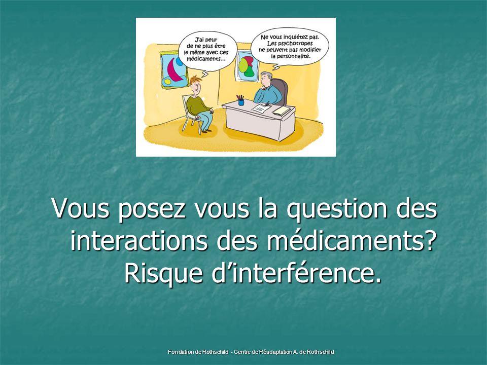 Vous posez vous la question des interactions des médicaments? Risque d'interférence. Fondation de Rothschild - Centre de Réadaptation A. de Rothschild