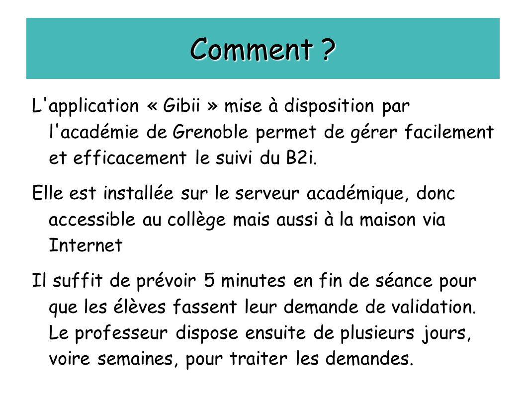 Comment ? L'application « Gibii » mise à disposition par l'académie de Grenoble permet de gérer facilement et efficacement le suivi du B2i. Elle est i