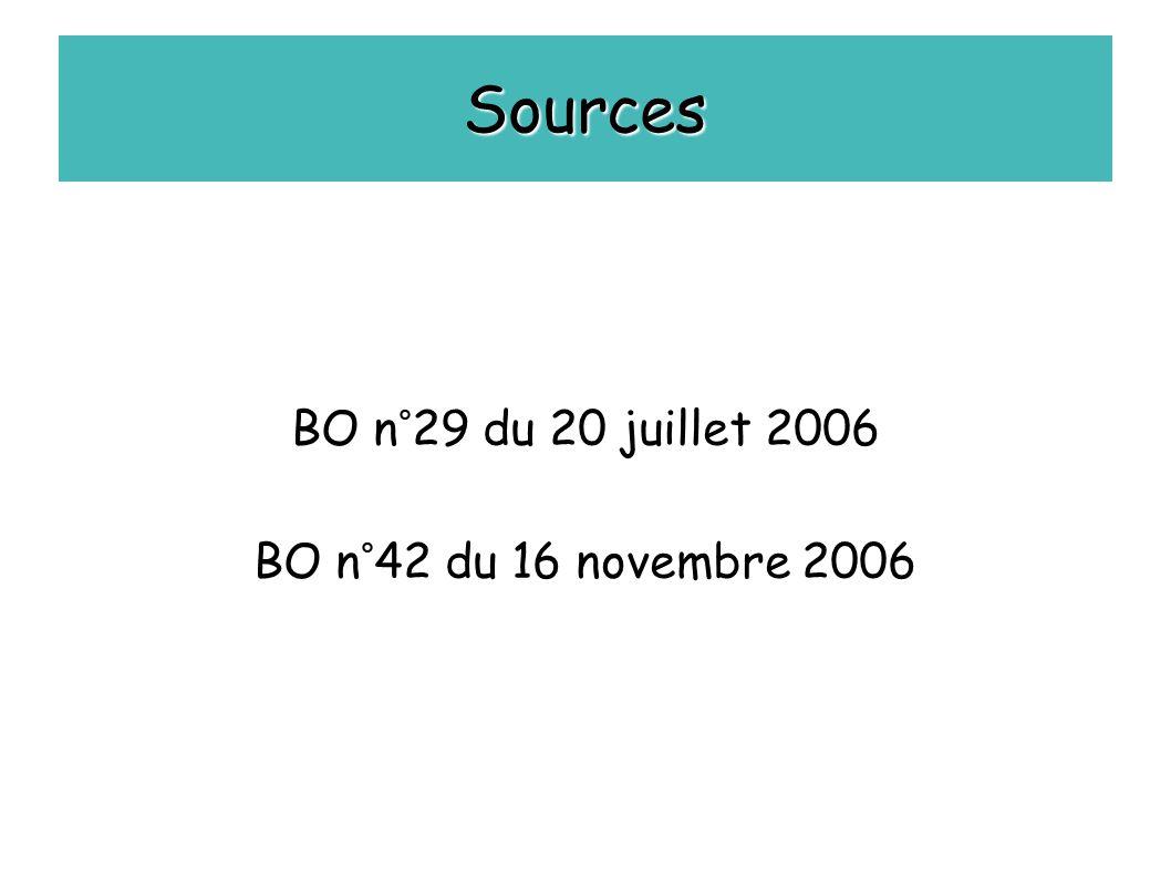 Sources BO n°29 du 20 juillet 2006 BO n°42 du 16 novembre 2006