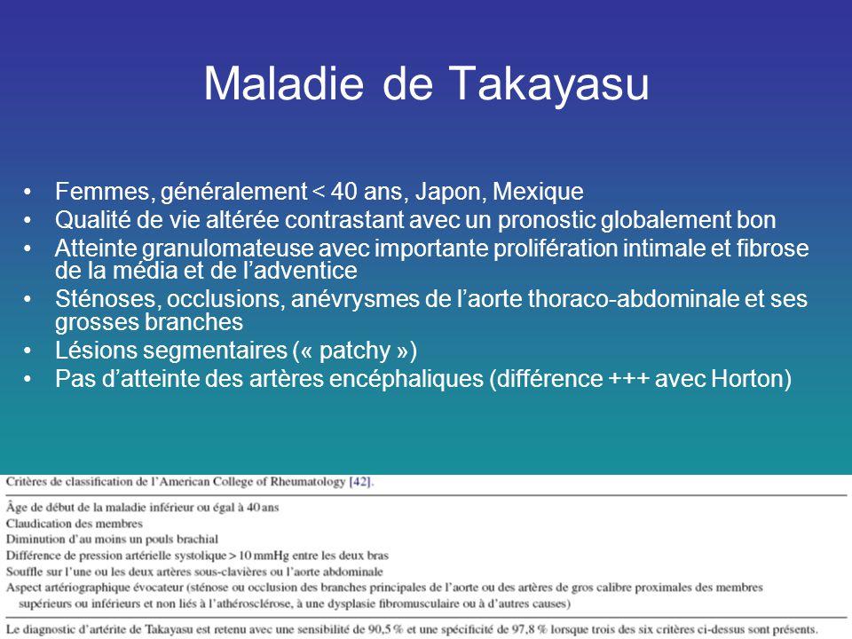 Maladie de Takayasu •Femmes, généralement < 40 ans, Japon, Mexique •Qualité de vie altérée contrastant avec un pronostic globalement bon •Atteinte gra