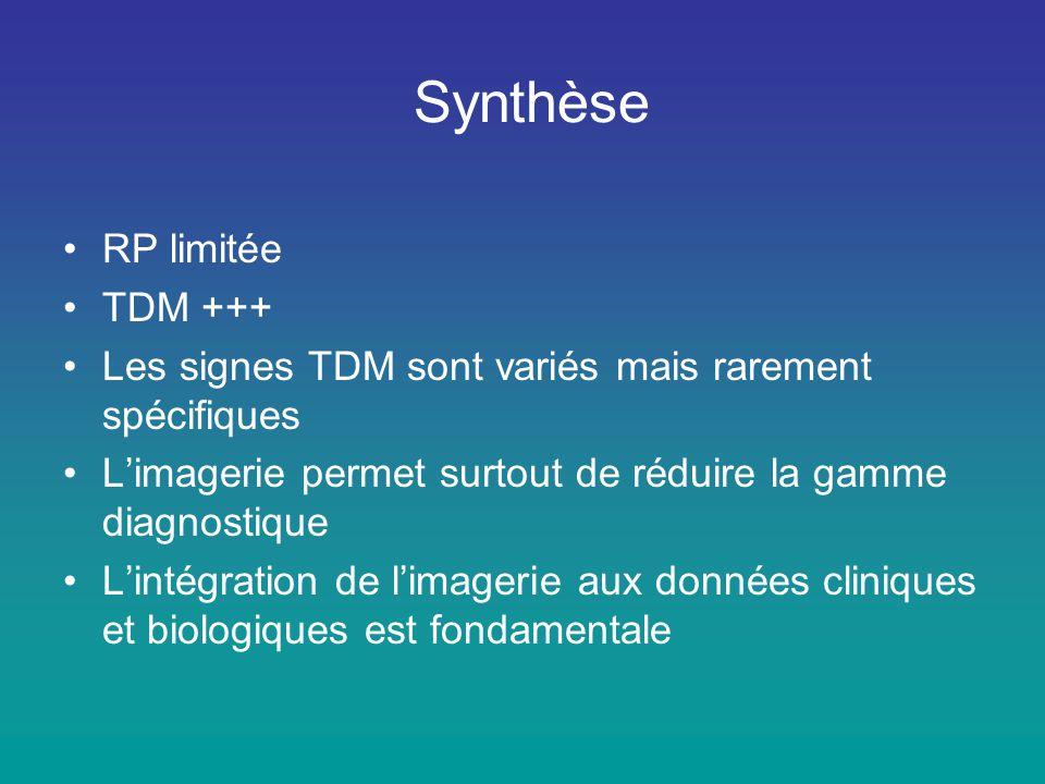 Synthèse •RP limitée •TDM +++ •Les signes TDM sont variés mais rarement spécifiques •L'imagerie permet surtout de réduire la gamme diagnostique •L'int
