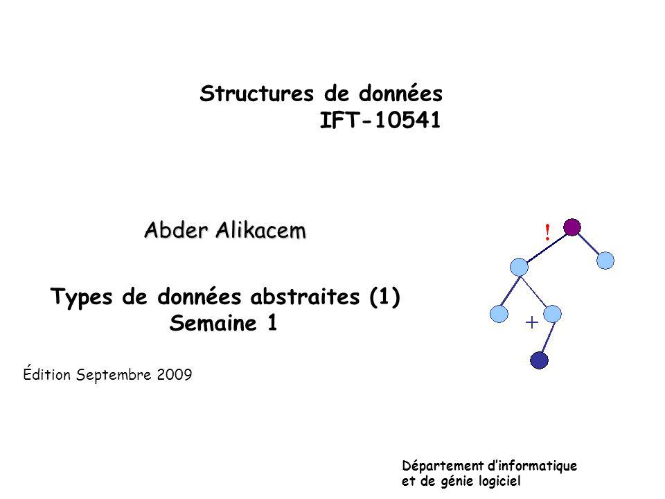 Un type abstrait: C'est un objet créée à partir d'un ensemble de données organisé et reliées logiquement pour que: – les spécifications de cet objet et des opérations associées soient séparées de leur représentation interne et de la mise en œuvre des opérations.