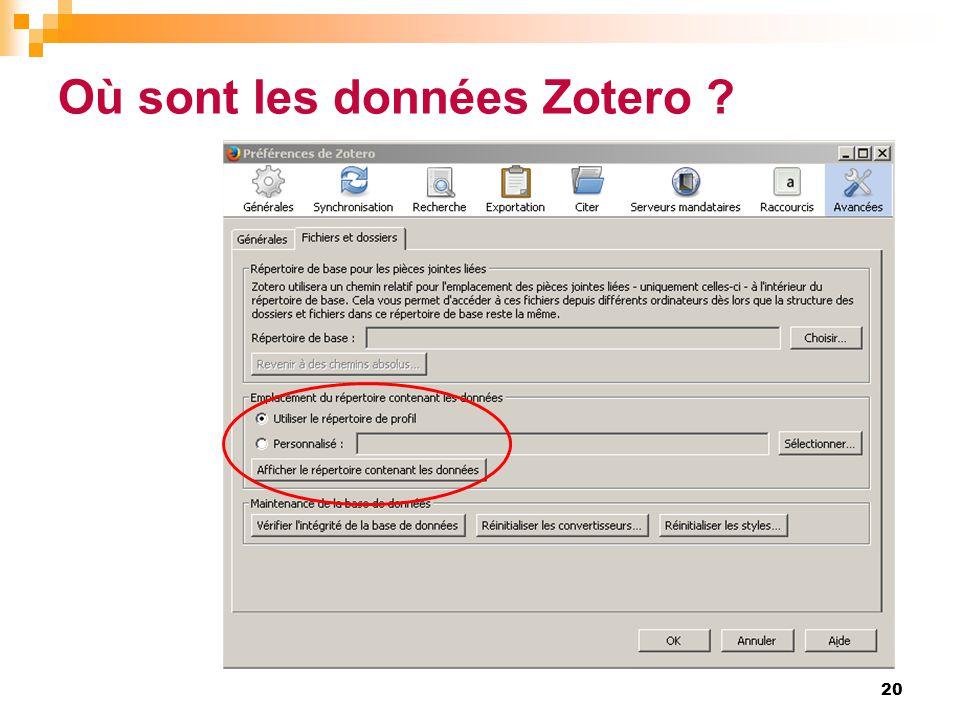 Où sont les données Zotero ? 20
