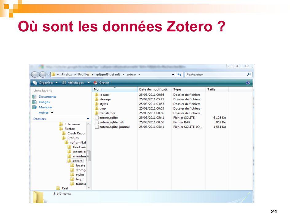 Où sont les données Zotero ? 21