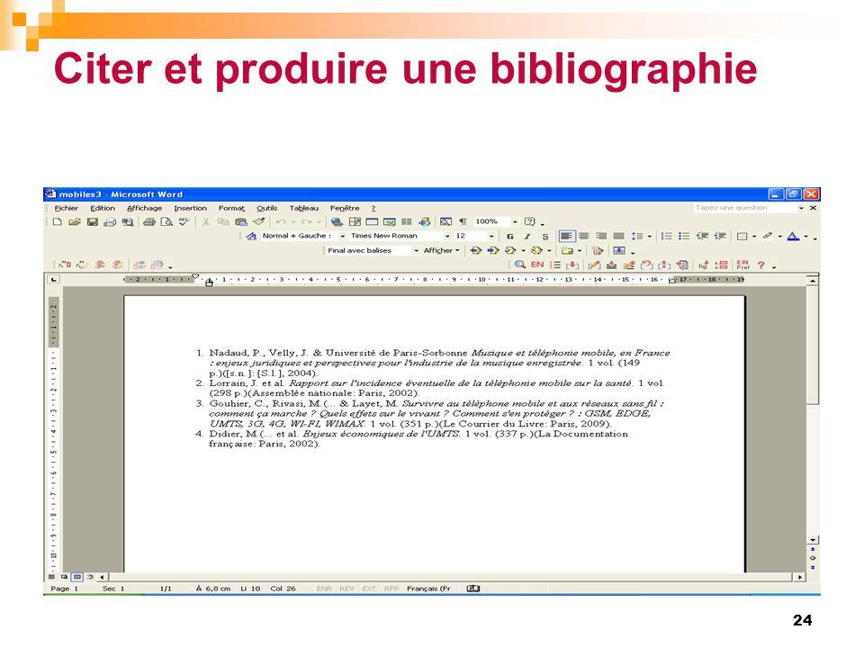 Citer et produire une bibliographie 24
