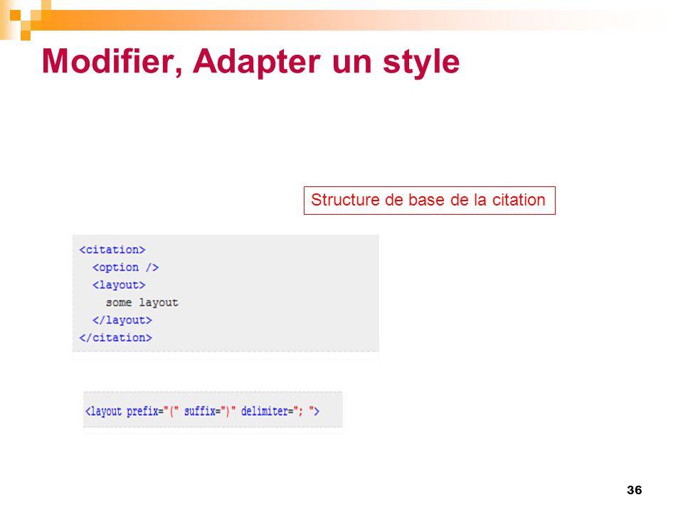 Modifier, Adapter un style 36 Structure de base de la citation