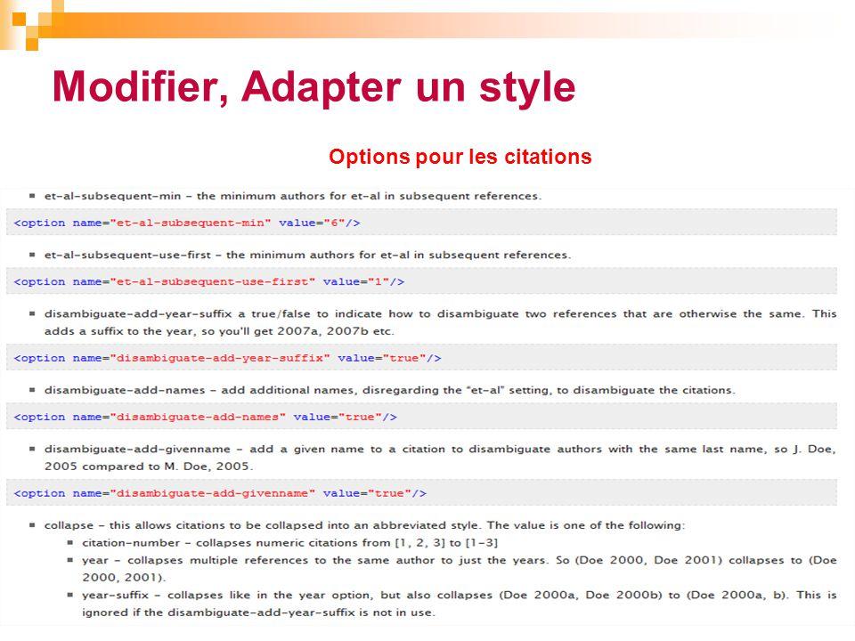 Modifier, Adapter un style 40 Options pour les citations
