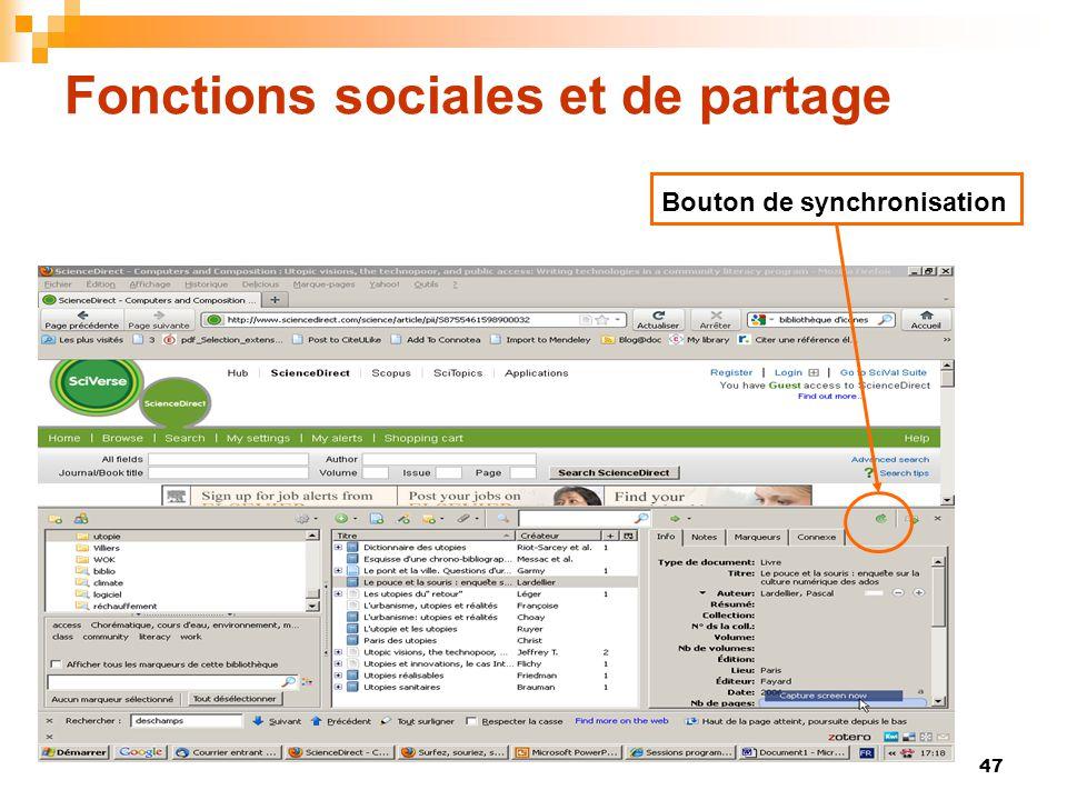 47 Fonctions sociales et de partage Bouton de synchronisation