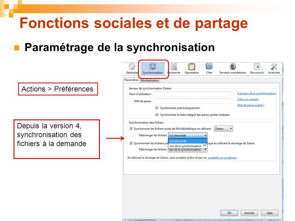 49 Fonctions sociales et de partage Depuis la version 4, synchronisation des fichiers à la demande  Paramétrage de la synchronisation Actions > Préfé