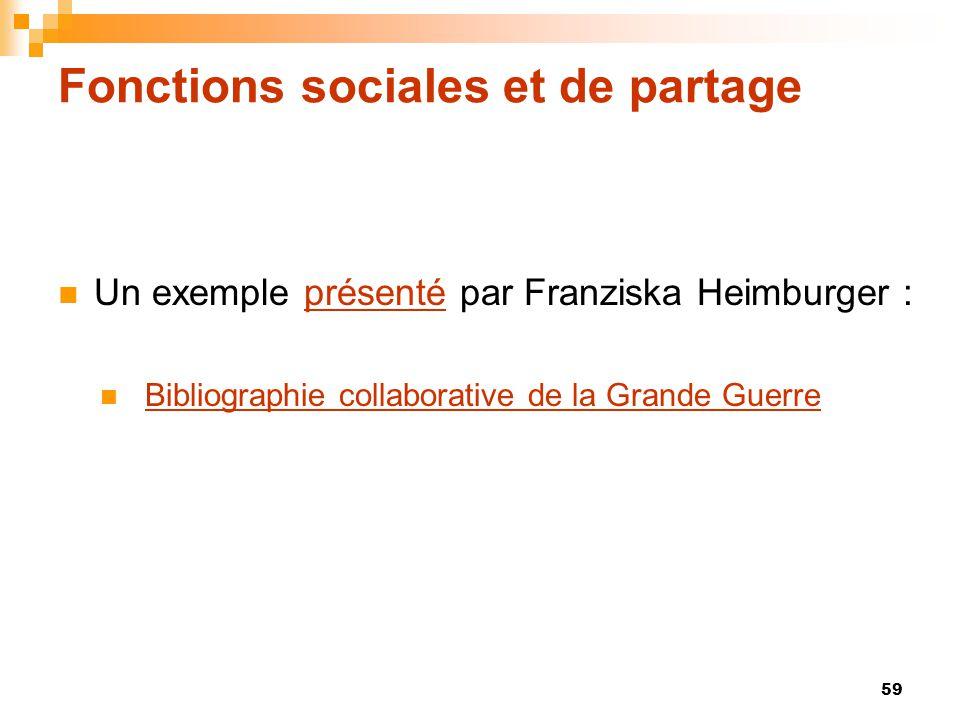 Fonctions sociales et de partage  Un exemple présenté par Franziska Heimburger :présenté  Bibliographie collaborative de la Grande GuerreBibliograph