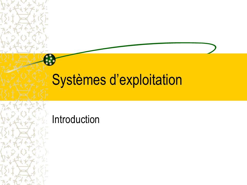Systèmes d'exploitation Introduction