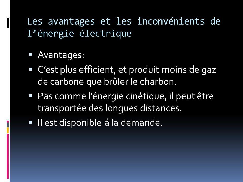 Les avantages et les inconvénients de l'énergie électrique  Avantages:  C'est plus efficient, et produit moins de gaz de carbone que brûler le charb