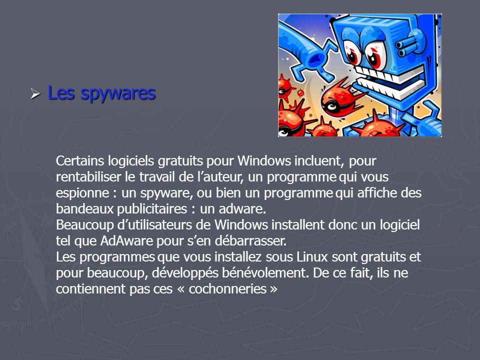 LLLLes spywares Certains logiciels gratuits pour Windows incluent, pour rentabiliser le travail de l'auteur, un programme qui vous espionne : un spyware, ou bien un programme qui affiche des bandeaux publicitaires : un adware.