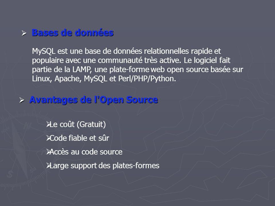 BBBBases de données MySQL est une base de données relationnelles rapide et populaire avec une communauté très active.