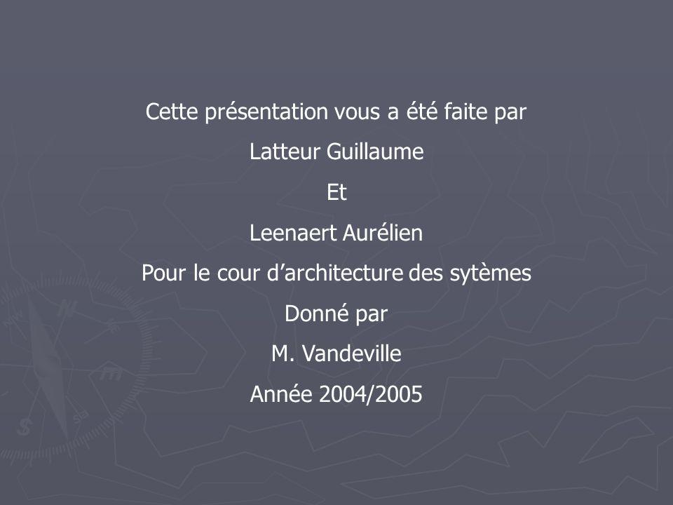 Cette présentation vous a été faite par Latteur Guillaume Et Leenaert Aurélien Pour le cour d'architecture des sytèmes Donné par M.