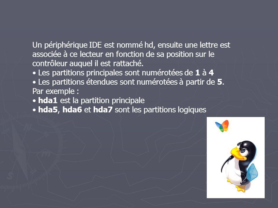 Un périphérique IDE est nommé hd, ensuite une lettre est associée à ce lecteur en fonction de sa position sur le contrôleur auquel il est rattaché.