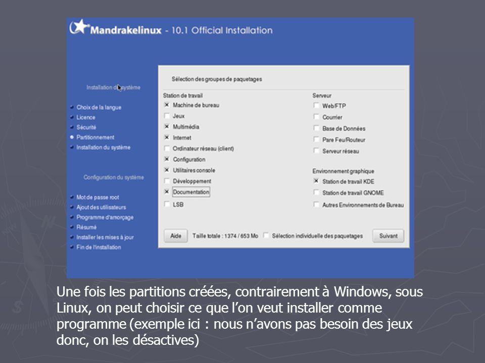 Une fois les partitions créées, contrairement à Windows, sous Linux, on peut choisir ce que l'on veut installer comme programme (exemple ici : nous n'avons pas besoin des jeux donc, on les désactives)