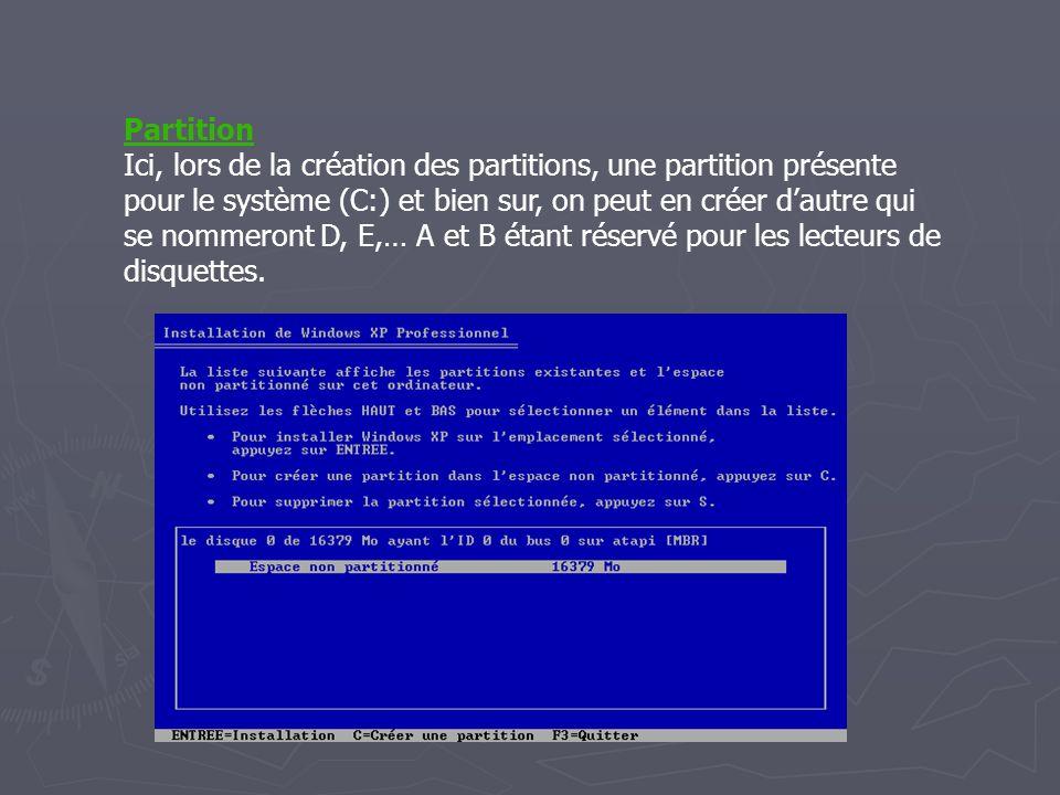 Partition Ici, lors de la création des partitions, une partition présente pour le système (C:) et bien sur, on peut en créer d'autre qui se nommeront D, E,… A et B étant réservé pour les lecteurs de disquettes.