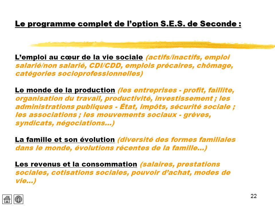 22 Le programme complet de l'option S.E.S. de Seconde : Le programme complet de l'option S.E.S. de Seconde : L'emploi au cœur de la vie sociale (actif
