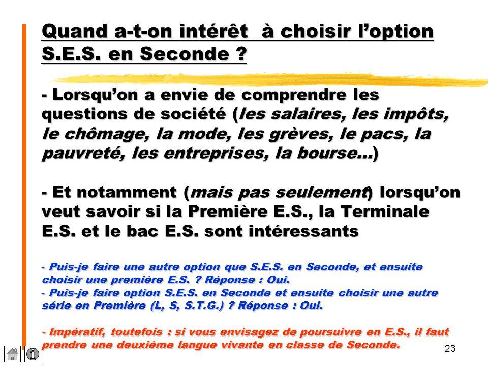 23 Quand a-t-on intérêt à choisir l'option S.E.S. en Seconde ? - Lorsqu'on a envie de comprendre les questions de société (les salaires, les impôts, l