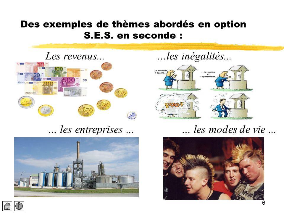 6 Des exemples de thèmes abordés en option S.E.S. en seconde : Les revenus...…les inégalités... … les entreprises... … les modes de vie...