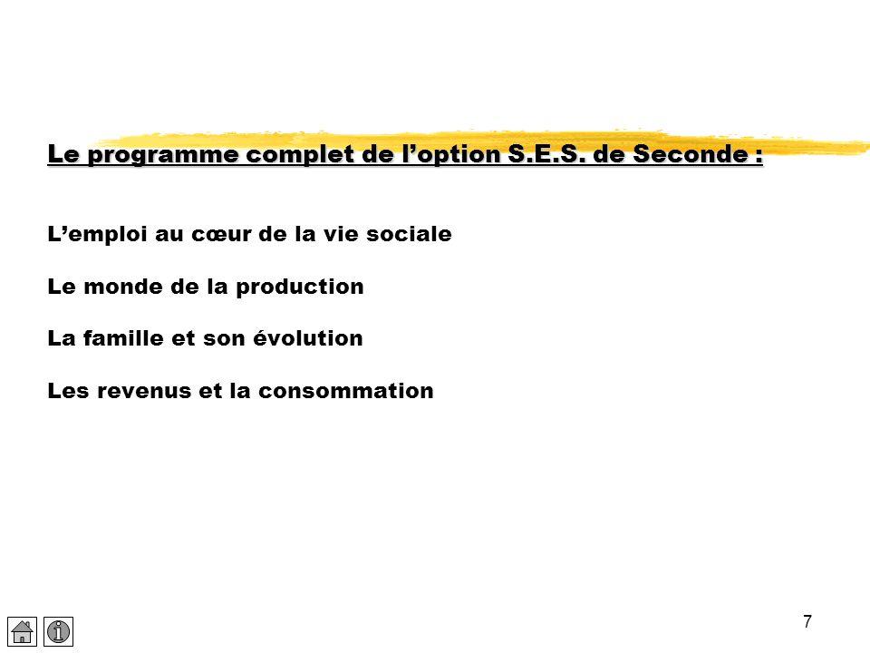 7 Le programme complet de l'option S.E.S. de Seconde : Le programme complet de l'option S.E.S. de Seconde : L'emploi au cœur de la vie sociale Le mond