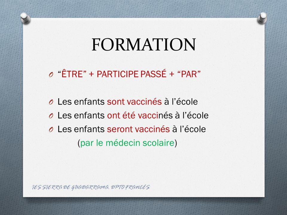 FORMATION O ÊTRE + PARTICIPE PASSÉ + PAR O Les enfants sont vaccinés à l'école O Les enfants ont été vaccinés à l'école O Les enfants seront vaccinés à l'école (par le médecin scolaire) IES SIERRA DE GUADARRAMA.