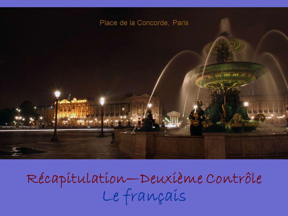 Récapitulation—Deuxième Contrôle Le français Place de la Concorde, Paris