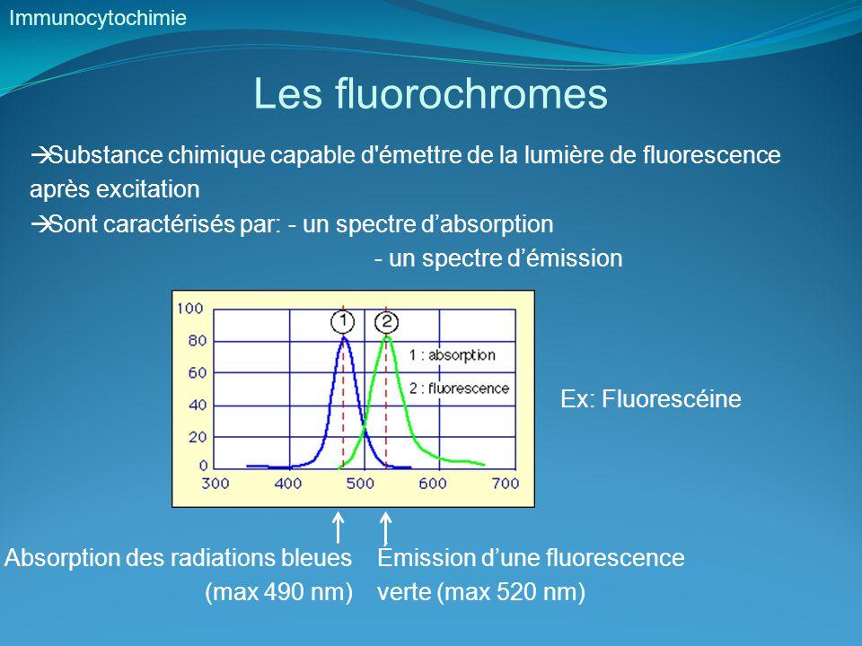 Les fluorochromes Immunocytochimie  Substance chimique capable d émettre de la lumière de fluorescence après excitation  Sont caractérisés par: - un spectre d'absorption - un spectre d'émission Ex: Fluorescéine Absorption des radiations bleues (max 490 nm) Émission d'une fluorescence verte (max 520 nm)