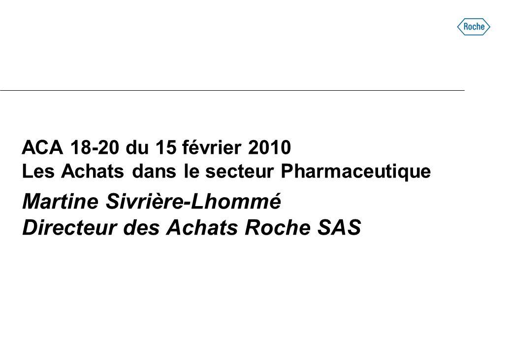 ACA 18-20 du 15 février 2010 Les Achats dans le secteur Pharmaceutique Martine Sivrière-Lhommé Directeur des Achats Roche SAS