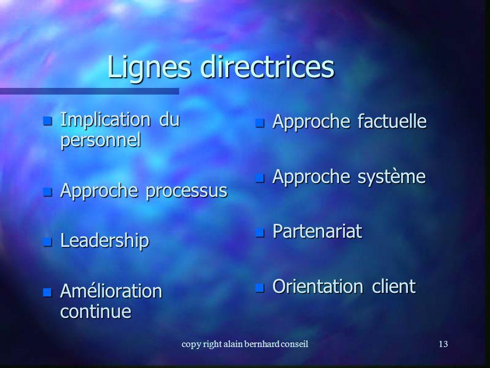 copy right alain bernhard conseil12 Lignes directrices n Huit principes constituent les lignes directrices pour l'établissement d'un système Qualité