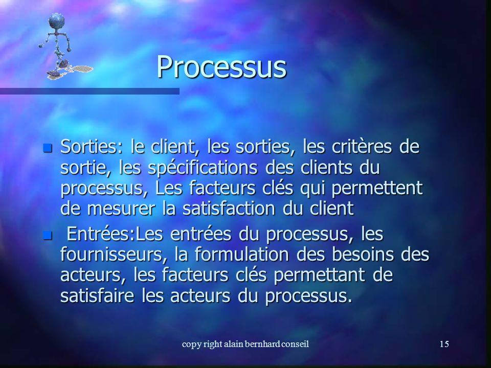 copy right alain bernhard conseil14 Processus n Ensemble des activités pouvant être groupées et comportant des « entrées » et des « sorties » n Une en