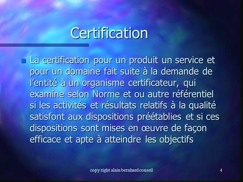 copy right alain bernhard conseil14 Processus n Ensemble des activités pouvant être groupées et comportant des « entrées » et des « sorties » n Une entreprise ou un organisme peuvent être considérées comme un ensemble de processus opérationnels, support, de management