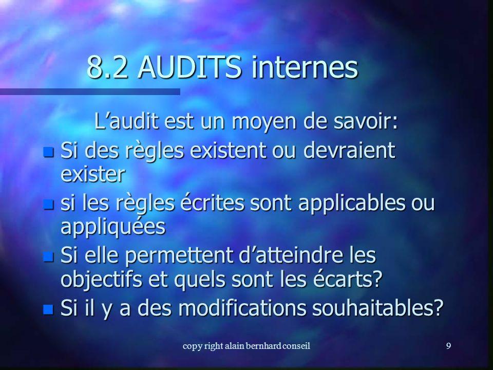 copy right alain bernhard conseil9 8.2 AUDITS internes L'audit est un moyen de savoir: n Si des règles existent ou devraient exister n si les règles écrites sont applicables ou appliquées n Si elle permettent d'atteindre les objectifs et quels sont les écarts.