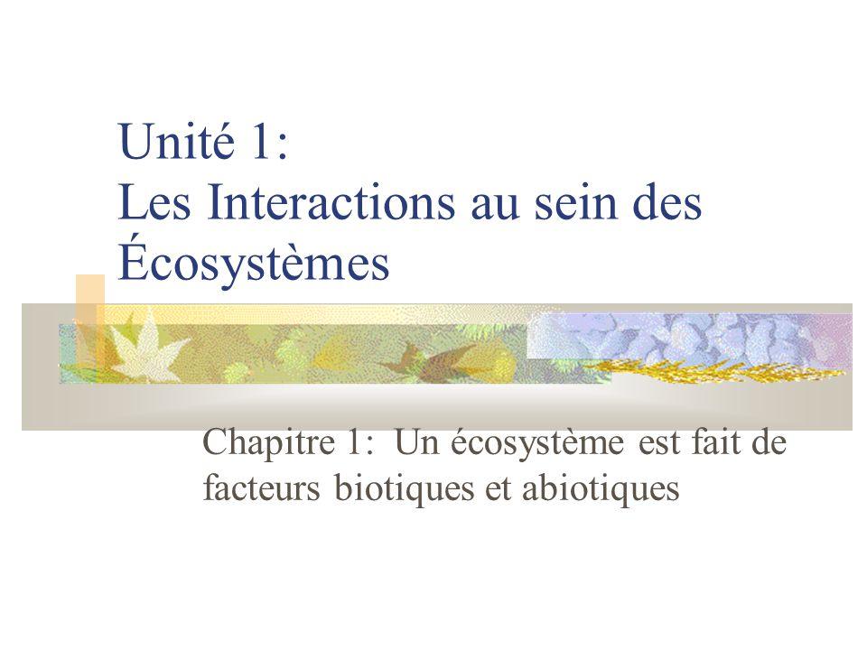 Unité 1: Les Interactions au sein des Écosystèmes Chapitre 1: Un écosystème est fait de facteurs biotiques et abiotiques