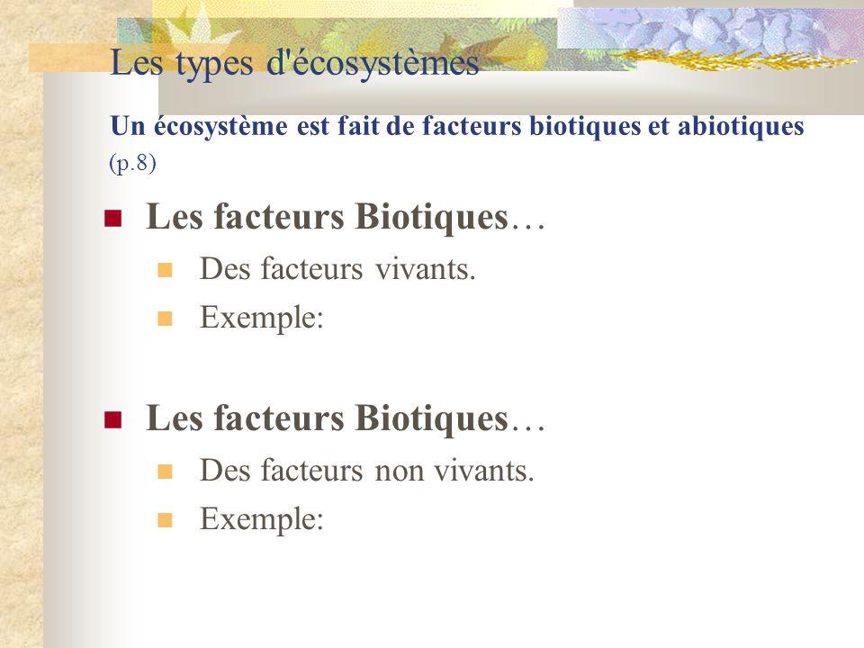 Les types d'écosystèmes Un écosystème est fait de facteurs biotiques et abiotiques (p.8)  Les facteurs Biotiques…  Des facteurs vivants.  Exemple: