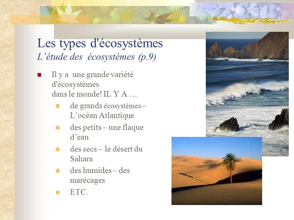 Les types d'écosystèmes L'étude des écosystèmes (p.9)  Il y a une grande variété d'écosystèmes dans le monde! IL Y A …  de grands écosystèmes – L'oc