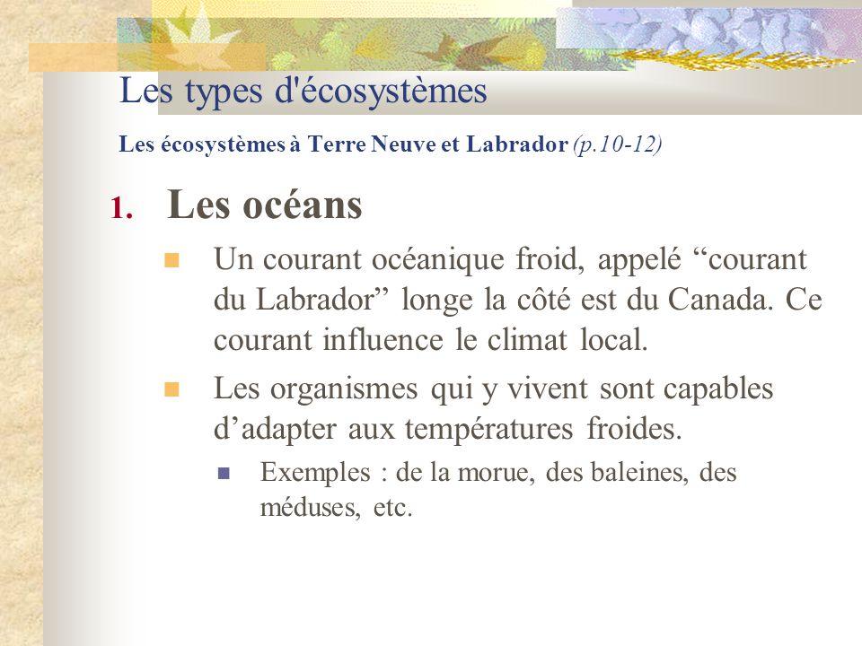 """Les types d'écosystèmes Les écosystèmes à Terre Neuve et Labrador (p.10-12) 1. Les océans  Un courant océanique froid, appelé """"courant du Labrador"""" l"""