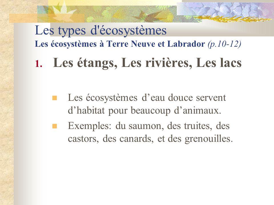 Les types d'écosystèmes Les écosystèmes à Terre Neuve et Labrador (p.10-12) 1. Les étangs, Les rivières, Les lacs  Les écosystèmes d'eau douce serven