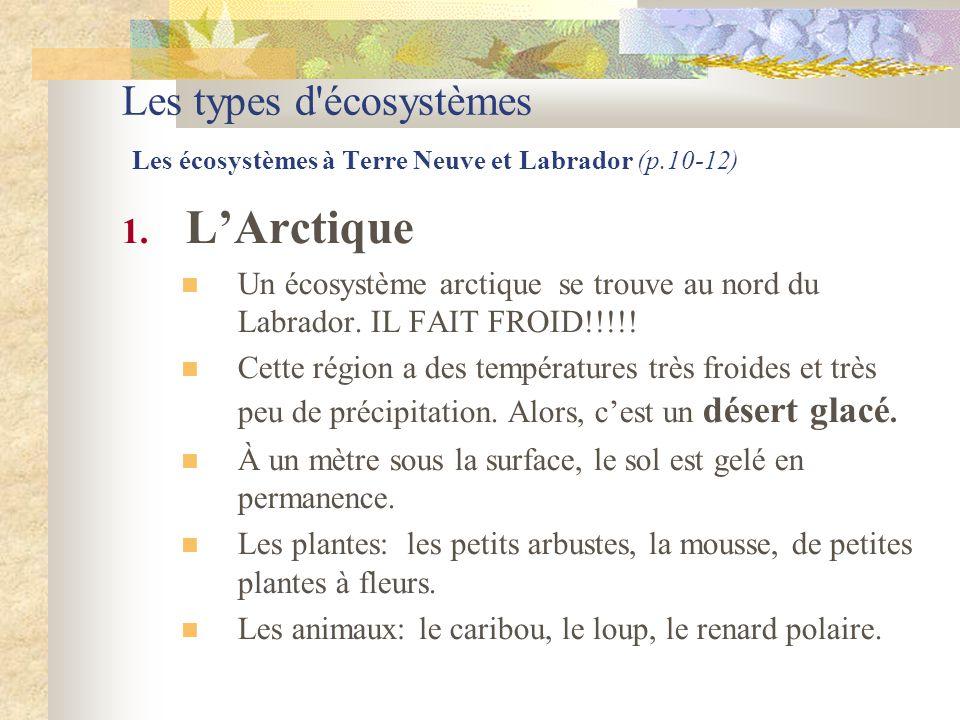 Les types d'écosystèmes Les écosystèmes à Terre Neuve et Labrador (p.10-12) 1. L'Arctique  Un écosystème arctique se trouve au nord du Labrador. IL F