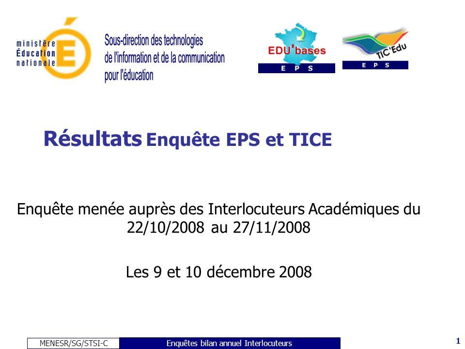 MENESR/SG/STSI-C 1 Enquêtes bilan annuel Interlocuteurs Résultats Enquête EPS et TICE Enquête menée auprès des Interlocuteurs Académiques du 22/10/2008 au 27/11/2008 Les 9 et 10 décembre 2008