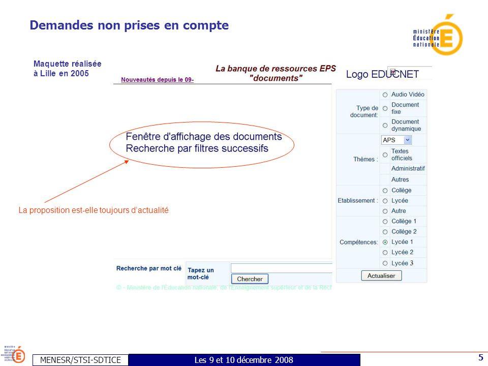 MENESR/STSI-SDTICE 5 Les 9 et 10 décembre 2008 Demandes non prises en compte Maquette réalisée à Lille en 2005 La proposition est-elle toujours d'actualité